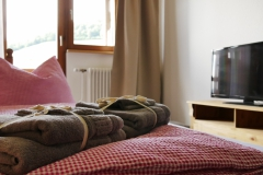 mit TV, Handtüchern und Bettwäsche